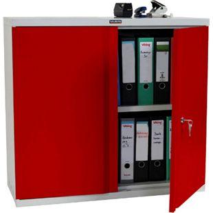 Aktenschrank Valberg H330, Metallschrank Büroschrank Stahlschrank, 2 Türen 84x92x37cm ~ rot - Bild 1