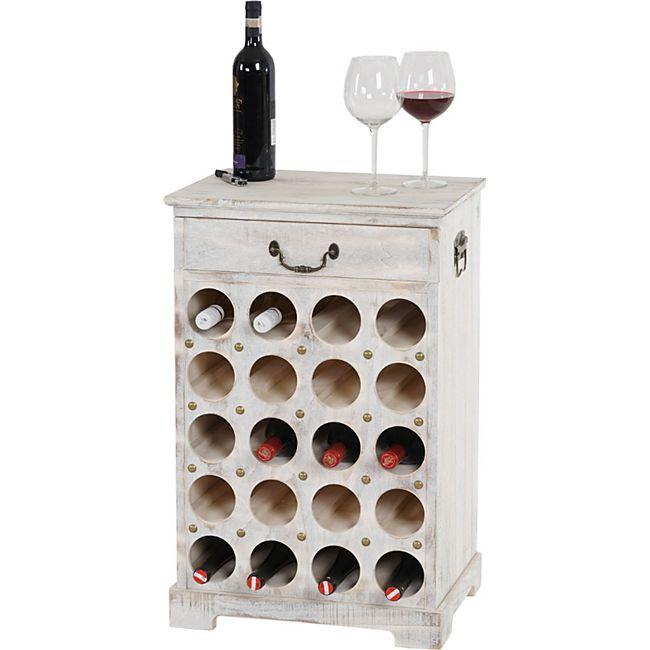 Weinregal Torre T324, Flaschenregal Regal für 20 Flaschen, 76x48x31cm, Shabby-Look, Vintage ~ weiß - Bild 1