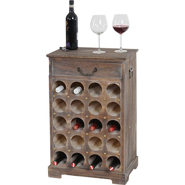 Weinregal Torre T324, Flaschenregal Regal für 20 Flaschen, 76x48x31cm, Shabby-Look, Vintage ~ braun - Bild 1