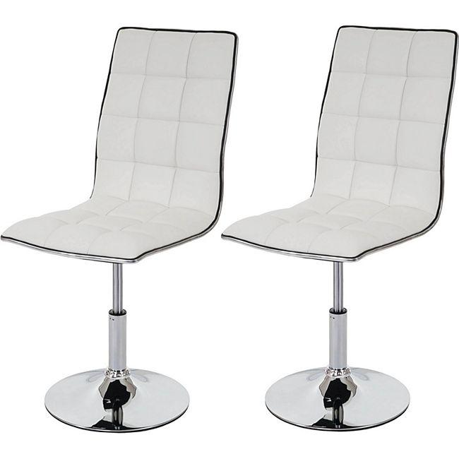 2x Esszimmerstuhl MCW-C41, Stuhl Küchenstuhl, Kunstleder ~ weiß - Bild 1