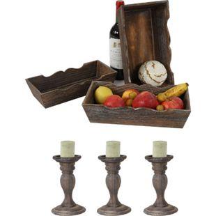 Shabby-Look Set, 3x Obstschale Dekoschale H283, 3x Kerzenständer H361, Vintage ~ braun - Bild 1