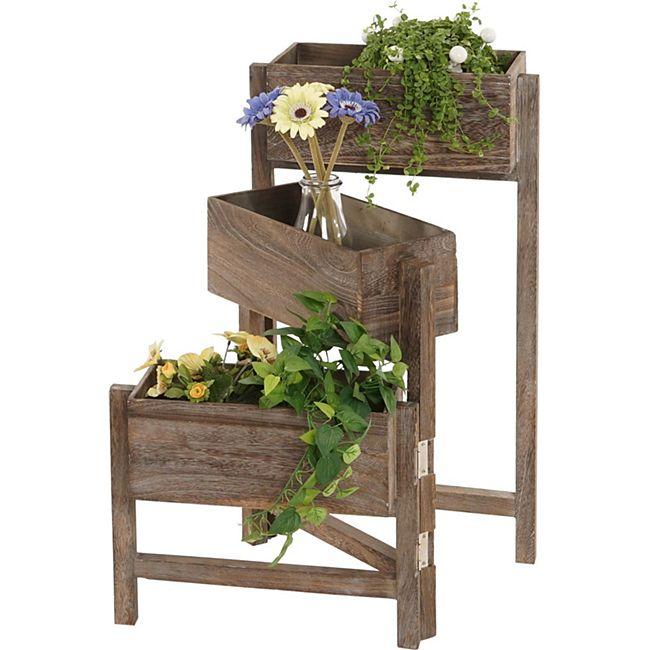 Pflanzregal, Standregal Blumenständer, Höhe: 65cm Shabby-Chic Vintage ~ braun - Bild 1
