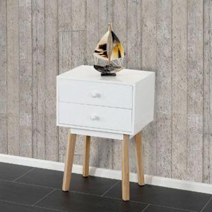 Kommode Vaasa T271, Beistelltisch Nachttisch Schrank, Retro-Design 59x40x30cm ~ Schublade weiß - Bild 1