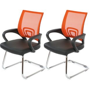 2x Konferenzstuhl Afragola, Besucherstuhl, Kunstleder ~ orange - Bild 1