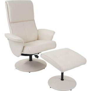Relaxsessel Stockholm, Fernsehsessel Relaxliege TV-Sessel mit Hocker ~ Kunstleder, creme - Bild 1
