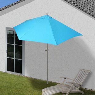 Sonnenschirm halbrund Lorca, Halbschirm Balkonschirm, UV 50+ Polyester/Stahl 3kg ~ 300cm türkis ohne Ständer - Bild 1