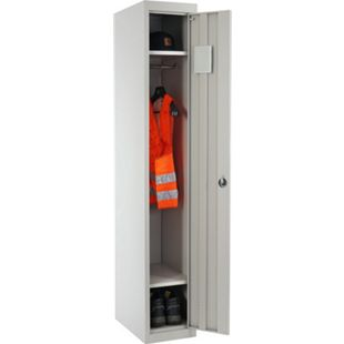 Spind Preston T163, Kleiderspind Umkleideschrank Personalschrank, 180x30x50cm nach ASR ~ grau - Bild 1