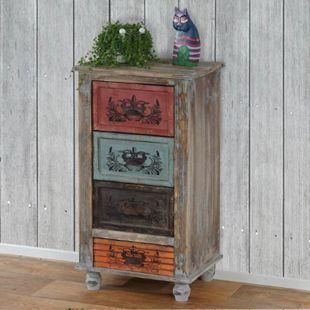 Kommode Funchal Schubladenkommode Schrank Shabby-Look, Vintage, 79x43x33cm - Bild 1