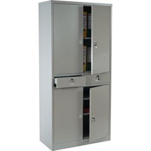 Aktenschrank Preston T132, Metallschrank Büroschrank, 4 Türen 2 Schubladen 180x85x40cm ~ grau - Bild 1