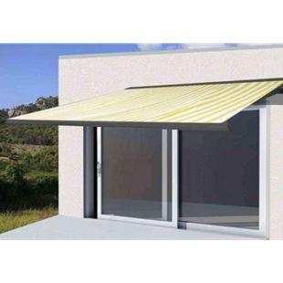 Elektrische Kassettenmarkise H122, Markise Vollkassette 4x3m ~ Polyester Gelb/Weiß, Rahmen anthrazit - Bild 1