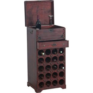 Weinregal Rhone Flaschenregal Regal Holzregal Kolonialstil, für 20 Flaschen, mit Schublade - Bild 1
