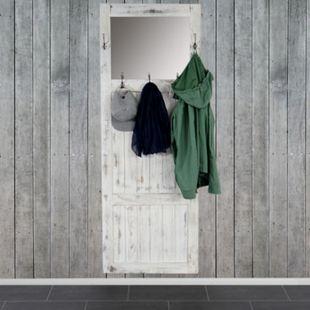 Garderobe Wandgarderobe mit Spiegel Wandhaken 180x65x7cm, Shabby-Look, Shabby-Chic, Vintage ~ weiß - Bild 1