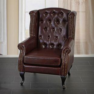 Sessel Relaxsessel Clubsessel Ohrensessel Chesterfield Oxford Kunstleder ~ antik-braun ohne Ottomane - Bild 1