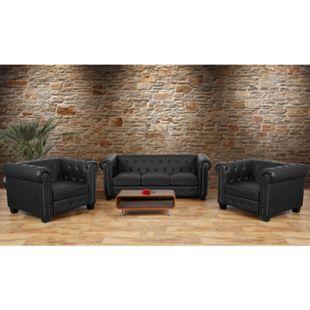 Luxus 3-1-1 Sofagarnitur Couchgarnitur Loungesofa Chesterfield Edinburgh Kunstleder ~ eckige Füße, schwarz - Bild 1