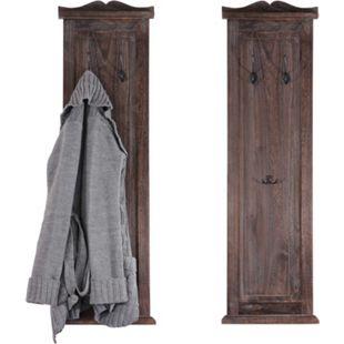 2x Wandgarderobe Garderobenpaneel Wandhaken Wandpaneel 109x28x4cm ~ braun shabby - Bild 1