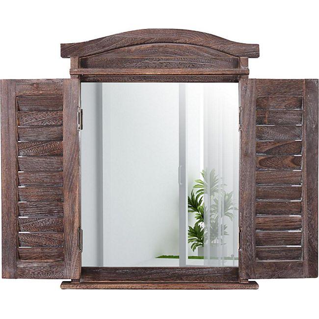 Wandspiegel Spiegelfenster mit Fensterläden 53x42x5cm ~ braun shabby - Bild 1