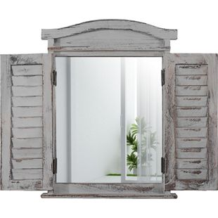 Wandspiegel Spiegelfenster mit Fensterläden 53x42x5cm ~ grau shabby - Bild 1