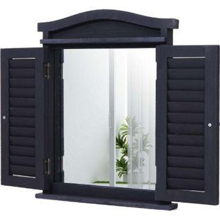 Wandspiegel Spiegelfenster mit Fensterläden 53x42x5cm ~ dunkelgrau - Bild 1