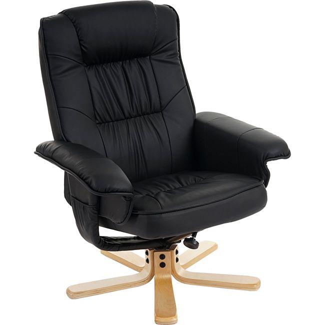 Relaxsessel Fernsehsessel Sessel ohne Hocker H56 Kunstleder ~ schwarz - Bild 1