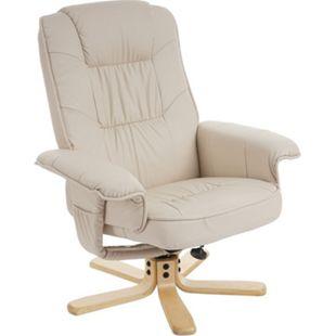 Relaxsessel Fernsehsessel Sessel ohne Hocker H56 Kunstleder ~ creme - Bild 1