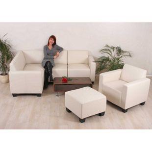 Modular Sofa-System Couch-Garnitur Lyon 4-1-1, Kunstleder ~ creme - Bild 1