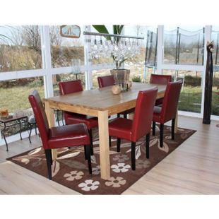 6x Esszimmerstuhl Stuhl Küchenstuhl Littau ~ Kunstleder, rot, dunkle Beine - Bild 1