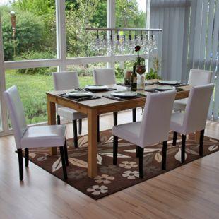 6x Esszimmerstuhl Stuhl Küchenstuhl Littau ~ Kunstleder, weiß, dunkle Beine - Bild 1