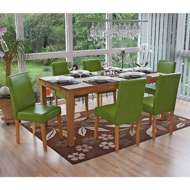 6x Esszimmerstuhl Stuhl Küchenstuhl Littau ~ Kunstleder, grün, helle Beine - Bild 1