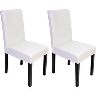 2x Esszimmerstuhl Stuhl Küchenstuhl Littau ~ Kunstleder, weiß, dunkle Beine - Bild 1