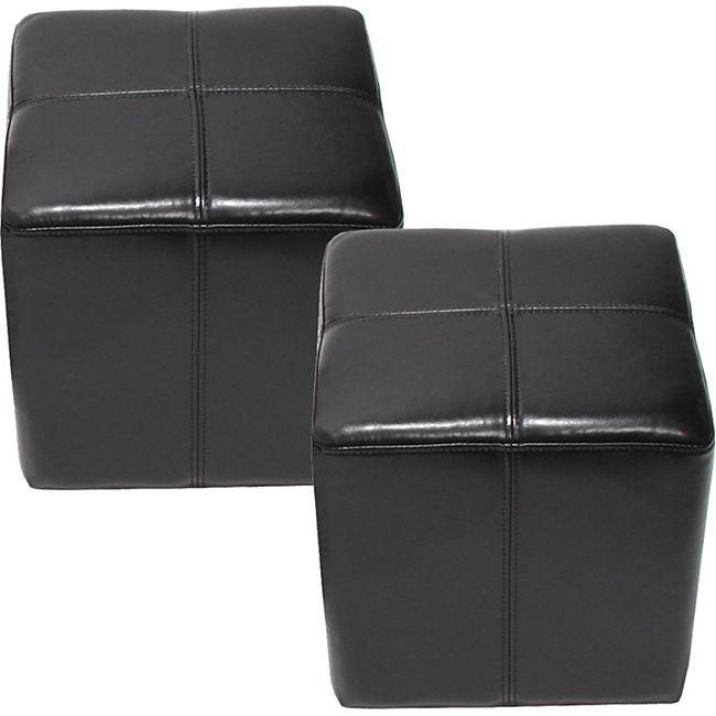2x Sitzhocker Carrara, Leder + Kunstleder, 36x36x36cm ~ schwarz - Bild 1