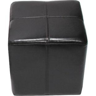 Sitzhocker Carrara, Leder + Kunstleder, 36x36x36cm ~ schwarz - Bild 1
