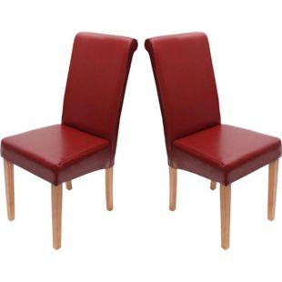2x Esszimmerstuhl Lecce II, Leder ~ rot, helle Beine - Bild 1