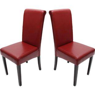2x Esszimmerstuhl Lecce II, Leder ~ rot, dunkle Beine - Bild 1