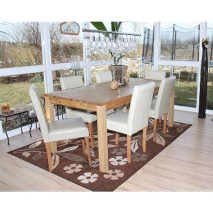 6x Esszimmerstuhl Stuhl Küchenstuhl Littau, Leder ~ creme, helle Beine - Bild 1