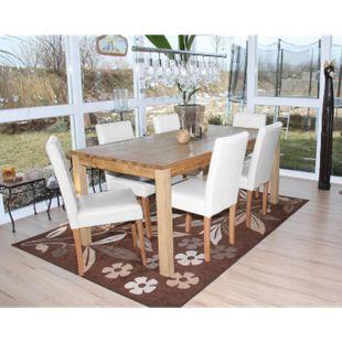 6x Esszimmerstuhl Stuhl Küchenstuhl Littau ~ Leder, weiß, helle Beine - Bild 1