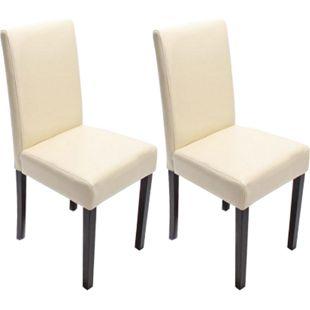 2x Esszimmerstuhl Stuhl Küchenstuhl Littau ~ Leder, creme, dunkle Beine - Bild 1