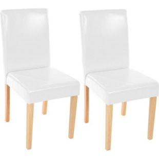 2x Esszimmerstuhl Stuhl Küchenstuhl Littau ~ Leder, weiß, helle Beine - Bild 1