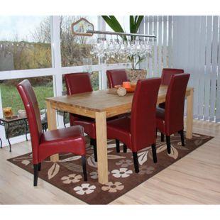 6x Esszimmerstuhl Küchenstuhl Stuhl Crotone, LEDER ~ rot, dunkle Beine - Bild 1