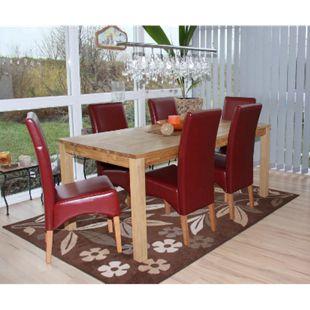 6x Esszimmerstuhl Küchenstuhl Stuhl Crotone, LEDER ~ rot, helle Beine - Bild 1