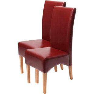 2x Esszimmerstuhl Crotone, LEDER ~ rot, helle Beine - Bild 1
