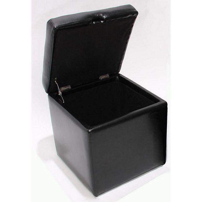 Sitzhocker Carrara, Leder + Kunstleder, 45x44x44cm schwarz - Bild 1