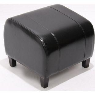 Sitzwürfel Aversa, Leder + Kunstleder, 37x45x47 cm ~ schwarz - Bild 1