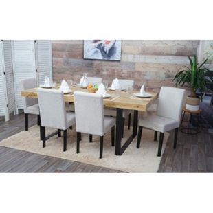 6x Esszimmerstuhl Stuhl Küchenstuhl Littau ~ Textil, creme-beige, dunkle Beine - Bild 1