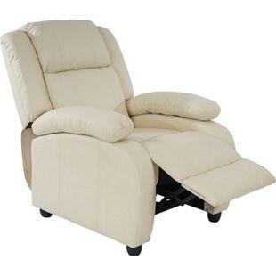 Fernsehsessel Relaxsessel Liege Sessel Glasgow, Kunstleder creme - Bild 1