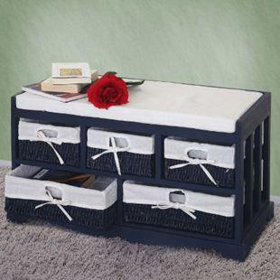 Kommode und Sitzbank mit 5 Schubladen, 45x77x36cm, Shabby-Look Vintage, blau - Bild 1