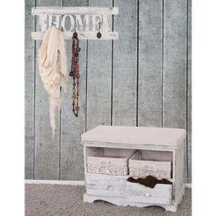 Garderobe mit Sitzbank Kommode mit 2 Körben 42x62x33cm, Shabby-Look, Shabby-Chic, Vintage ~ weiß - Bild 1