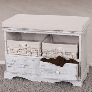 Sitzbank Kommode mit 2 Körben 42x62x33cm, Shabby-Look, Shabby-Chic, Vintage ~ weiß - Bild 1