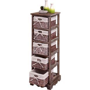 Regal Kommode mit 5 Korbschubladen 90x25x28cm, Shabby-Look, Shabby-Chic, Vintage ~ braun - Bild 1