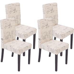 4x Esszimmerstuhl Stuhl Küchenstuhl Littau ~ Textil mit Schriftzug, creme, dunkle Beine - Bild 1