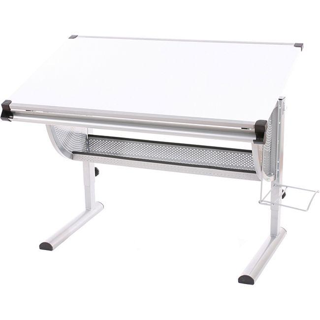 Jugend-Schreibtisch Bürotisch Zeichentisch Preston, höhenverstellbar, neigbar ~ weiß - Bild 1